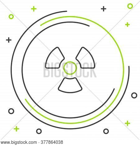 Line Radioactive Icon Isolated On White Background. Radioactive Toxic Symbol. Radiation Hazard Sign.