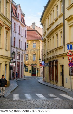 Prague - July 20, 2019: A Quiet Street With Zebra Crossing In The Old Town District Of Prague, Czech