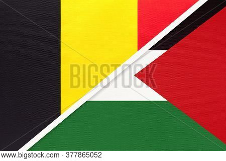 Belgium And Palestine, Symbol Of Two National Flags From Textile. Relationship, Partnership And Cham