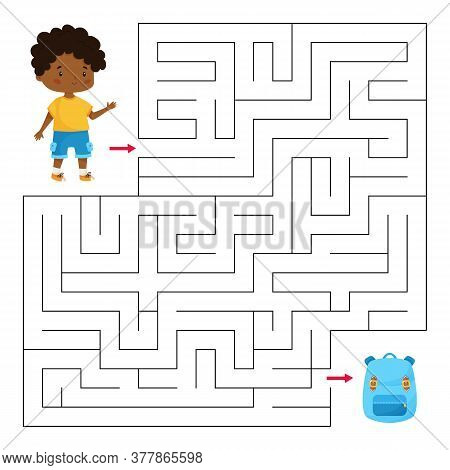 Educational Maze Game For Preschool And School Children. Help The Boy Find Right Way To His School B