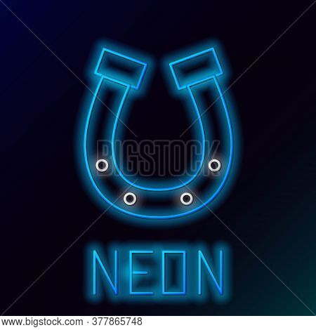 Glowing Neon Line Horseshoe Icon Isolated On Black Background. Colorful Outline Concept. Vector