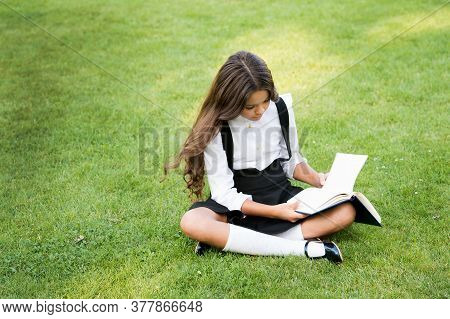 Small Girl Reading Book. Literature For Kids. Write Childhood Memories. Her Diary. Making Notes In N