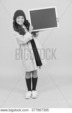 Smiling Child Craving For Education. Retro And Modern School. Just Look Here. Stylish Schoolgirl Bla