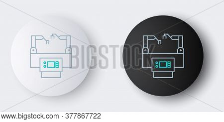 Line Assembly Line Icon Isolated On Grey Background. Automatic Production Conveyor. Robotic Industry