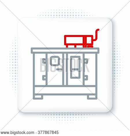 Line Diesel Power Generator Icon Isolated On White Background. Industrial And Home Immovable Power G