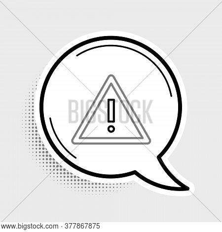 Line Exclamation Mark In Triangle Icon Isolated On Grey Background. Hazard Warning Sign, Careful, At