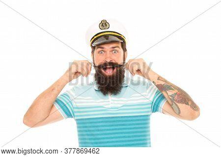 Huge Surprise. Surprised Sailor Twirl Moustache With Mouth Open. Barbershop. Bearded Man Get Emotion
