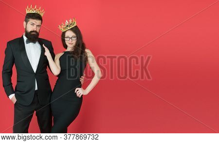 Business Couple Wear Luxury Crowns. Rich Man And Woman. Pride And Recognition. Prom Party. Luxury Li