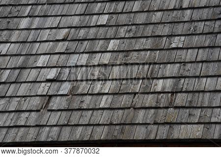 Roof Shingles On A Building, Patterns And Textures With Wooden Shingles