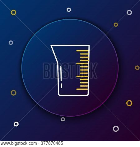 Line Laboratory Glassware Or Beaker Icon Isolated On Blue Background. Colorful Outline Concept. Vect