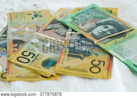 Bundles Of Australian Currency Fifty And One Hundred Dollar Notes $50 $100