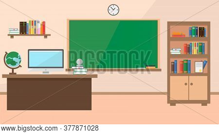 Back To School. New Classroom School In Vector Flat Style. A Classroom With A Teacher's Desk, A Scho