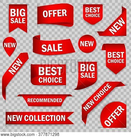 Best Choice Tags, Vector Red Labels Isolated. Price Tag, Sale Promo, New Offer Vector Bundle Set. Be
