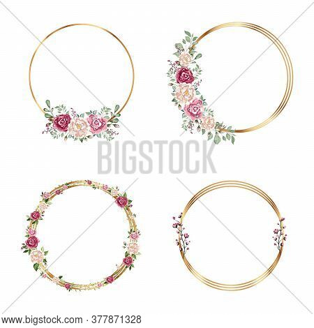Gold Frames Set With With Flowers. Isolated Gold Geometric Frame Or Polyhedron With Leaves And Rose,
