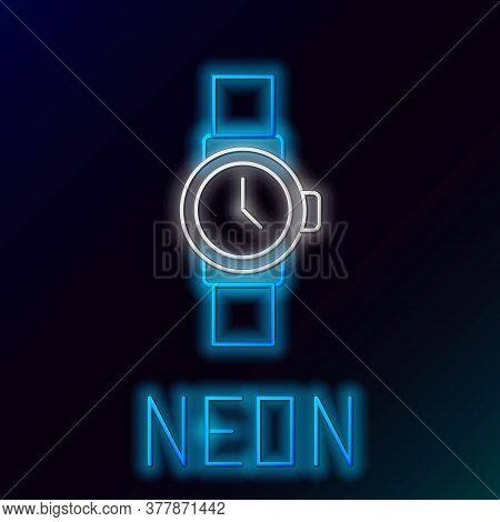 Glowing Neon Line Wrist Watch Icon Isolated On Black Background. Wristwatch Icon. Colorful Outline C