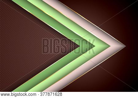 Polygonal Arrow With Gold Triangle Edge Lines Banner Vector Design. Glamour Banner Background Templa