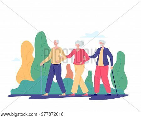 Group Of Old People Walking Outdoor. Old Men And Women Walking In A Park. Recreation And Leisure Ret