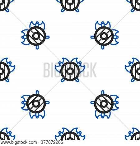Line Medieval Shield With Crossed Axes Icon Isolated Seamless Pattern On White Background. Battle Ax