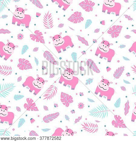 Cute Baby Hippo Pattern. Vector Cartoon Seamless Background With Character For Girls.