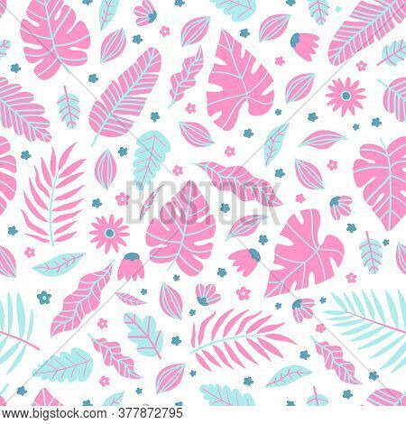 Summer Exotic Floral Tropical Palm, Banana Leaves In Pink Style. Pattern Vector Seamless On The Pink