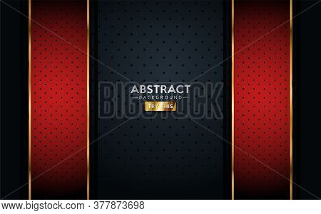 Red And Gold With Dark Background Textured Overlap Layer Design. Vector Graphic Elements.
