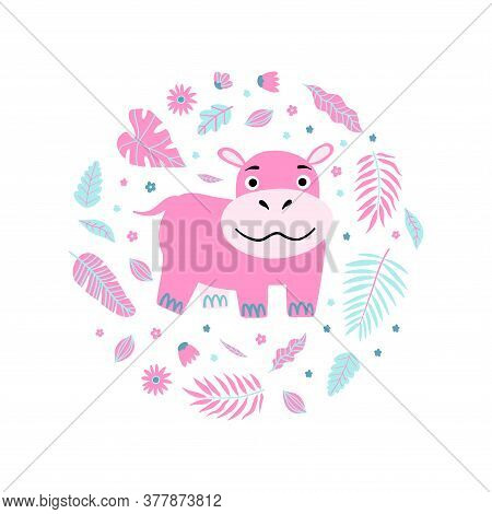 Seamless Kid Print And Illustration With Pink Hippo And Leaves. Cute Pajama Design.