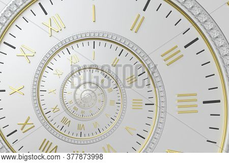 Abstract modern white spiral clock dial. Infinite time concept.