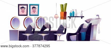 Hair Salon Interior With Hairdresser Chairs, Mirrors, Sink And Cosmetics. Vector Cartoon Set Of Furn