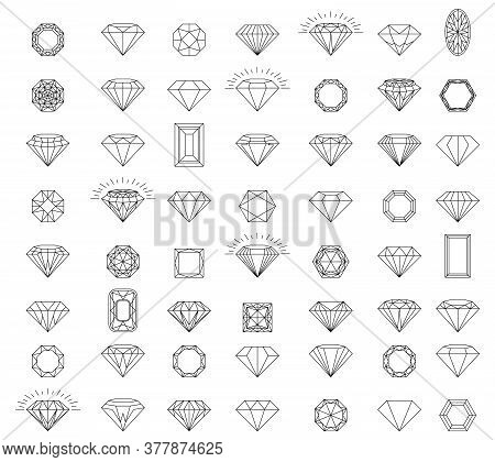 Diamonds Icons Set. Black Diamond Collection Icons Vector Eps Icon Logo Design Diamonds Color Crista