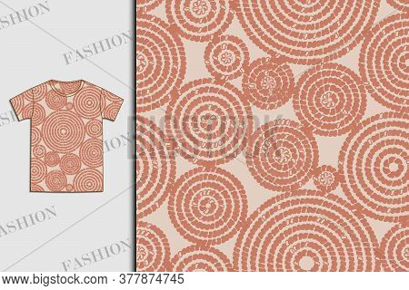 T-shirt. Fabric Design With Abstract Circles. Seamless Pattern. Use For Textiles, Fabrics, Paper, Wa