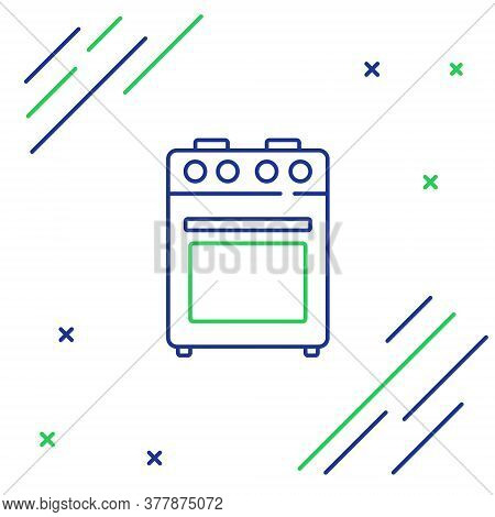 Line Oven Icon Isolated On White Background. Stove Gas Oven Sign. Colorful Outline Concept. Vector