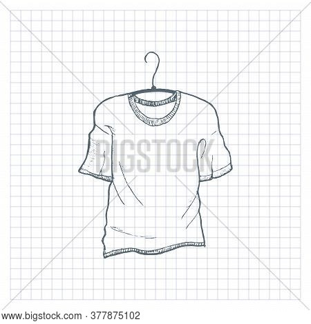 T-shirt Sketch. Hand Drawn T-shirt On A Hanger, Doodle Clothes. Vector Illustration.