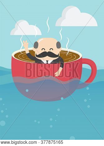Elderly Business People In Retirement Who Is In A Cup Of Coffee And Is Rowing With Diligence