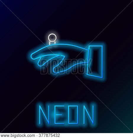 Glowing Neon Line Wedding Rings On Hand Icon Isolated On Black Background. Bride And Groom Jewelry S