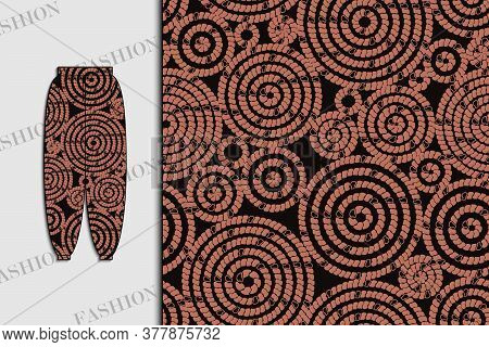 Trousers. Fabric Design With Abstract Circles. Seamless Pattern. Use For Textiles, Fabrics, Paper, W