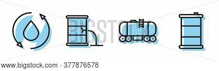 Set Line Oil Railway Cistern, Oil Drop, Barrel Oil Leak And Barrel Oil Icon. Vector