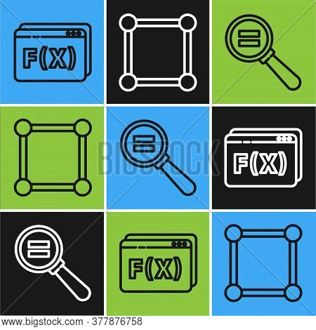 Set Line Geometric Figure Pentagonal Prism, Paper Clip And Chalkboard With Diagram Icon. Vector