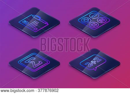 Set Isometric Line Open Book, Geometric Figure Square, Square Root And Graph, Schedule, Chart, Diagr