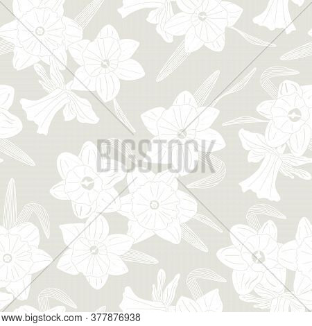 Vector Daffodil Flower Silhouettes In White Scattered On Beige Background Seamless Repeat Pattern. B