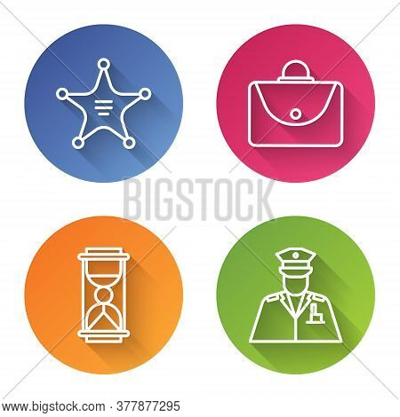 Set Line Hexagram Sheriff, Briefcase, Old Hourglass With Sand And Police Officer. Color Circle Butto