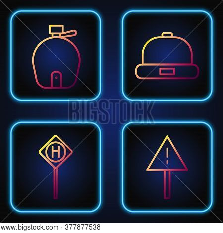 Set Line Exclamation Mark In Triangle, Parking, Canteen Water Bottle And Beanie Hat. Gradient Color