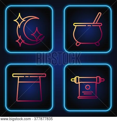 Set Line Magic Scroll, Magician Hat, Moon And Stars And Witch Cauldron. Gradient Color Icons. Vector