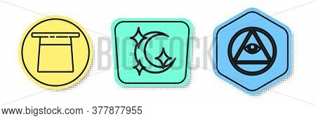 Set Line Magician Hat, Moon And Stars And Masons. Colored Shapes. Vector