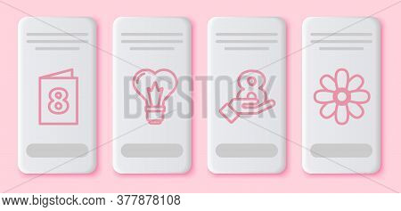 Set Line Greeting Card With 8 March, Heart Shape In A Light Bulb, 8 March On Hand And Flower. White
