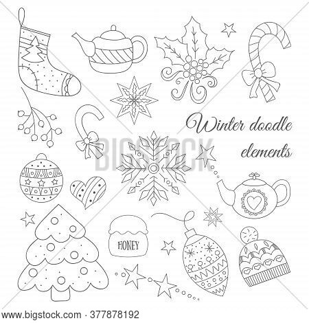 Winter Doodle Elements Set With Tree, Tea Pot, Toys, Candies, Hat, Sock, Christmas Mistletoe. For Ca