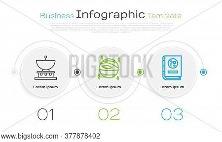 Set Line Planet Saturn, Planet Venus And Book By Astronomy. Business Infographic Template. Vector