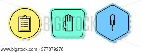 Set Line Clipboard With Checklist, Rubber Gloves And Sanitary Tampon. Colored Shapes. Vector