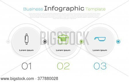 Set Line Rolling Pin, Slow Cooker And Frying Pan. Business Infographic Template. Vector