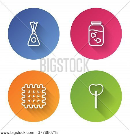 Set Line Candy, Strawberry Jam Jar, Cracker Biscuit And Lollipop. Color Circle Button. Vector
