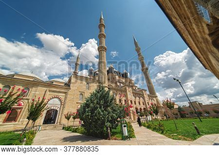 View Of The Selimiye Mosque, The Masterpiece Of Famous Architect Mimar Sinan And One Of The Highest